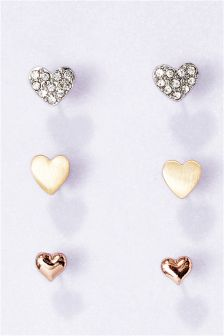 Mixed Plate Heart Studs Three Pack