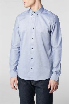 Long Sleeve Contrast Collar Smart Shirt