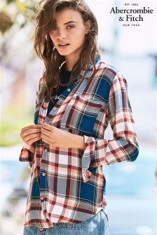 Abercrombie & Fitch Red/Navy Check Shirt