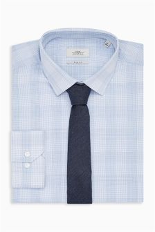 Check Slim Fit Shirt And Tie