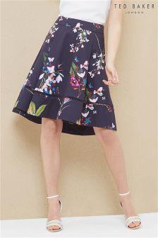 Ted Baker Navy Plio Floral Print Skirt
