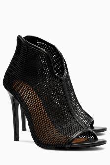 Mesh Peep Toe Shoe Boots