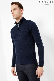 Ted Baker Navy Textured 1/2 Zip Jumper