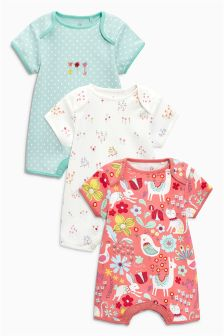 Floral Animal Print Rompers Three Pack (0mths-2yrs)