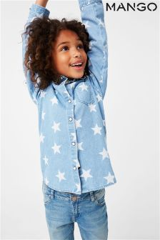 Mango Kids Girls Star Denim Shirt