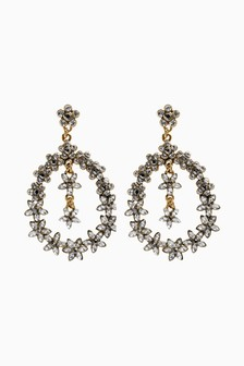 Floral Jewelled Drop Earrings