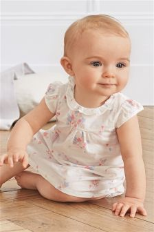 White Ditsy Floral Dress And Knickers Set (0mths-2yrs)