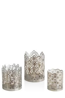 Set Of 3 Metal Deco Tealight Holders