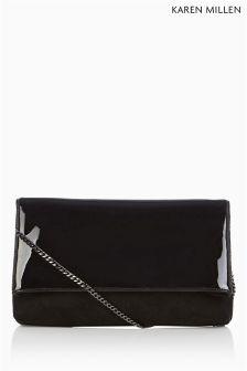 Black Karen Millen Brompton Clutch With Across-The-Body Chain