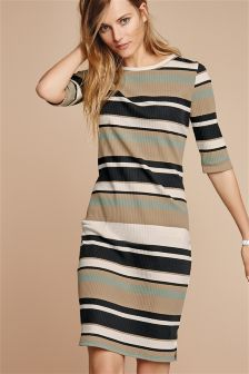 Neutral Engineered Stripe Dress