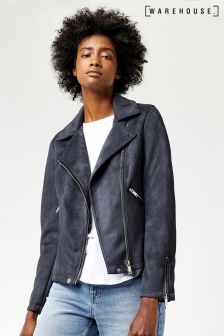 Warehouse Grey Suedette Biker