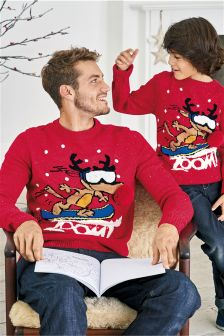 Light Up Reindeer Christmas Jumper