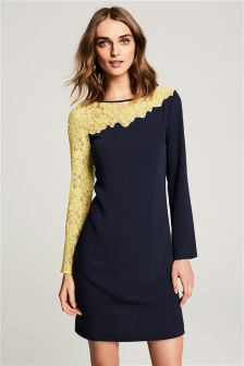 Asymmetric Lace Sleeve Dress