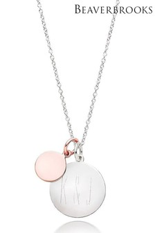 Beaverbrooks Silver Rose Gold Plated Double Disc Pendant