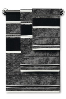 Black Velour And Metallic Thread Towel
