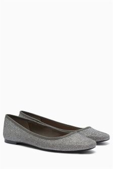 Metallic Square Toe Ballerinas