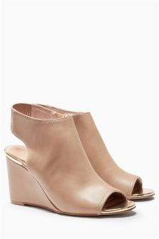 Peep Toe Wedge Shoe Boots