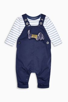 Dog Twill Dungarees And Bodysuit Set (0mths-2yrs)