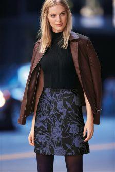 Blue/Black Floral Jacquard Skirt