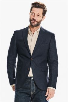 Textured Linen Tailored Fit Jacket