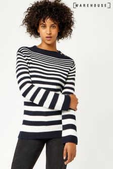 Warehouse Navy/White Graduated Stripe Button Jumper