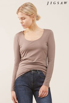 Jigsaw Pink Double Front Scoop Tee