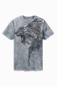 Acid Wash Lion T-Shirt
