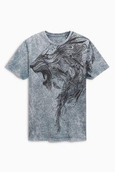 Grey Acid Wash Lion T-Shirt