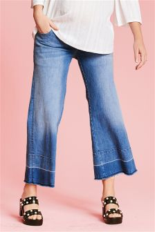 Maternity Wide Let Down Hem Jeans
