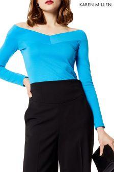 Karen Millen Blue Angled Bardot Top