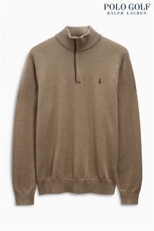 Ralph Lauren Polo Golf Brown 1/2 Zip Merino Jumper