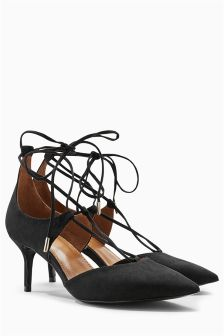 Lace-Up Pointed Kitten Heels