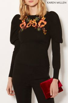 Karen Millen Black Embroidered Drama Sleeve Jumper