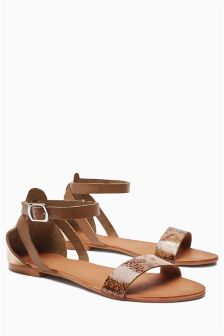 Tan/Snake Two Part Sandals