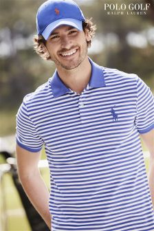 Ralph Lauren Polo Golf Blue Stripe Pique Polo