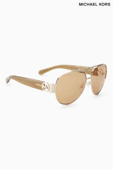 Michael Kors Rose Gold Tabitha II Logo Arm Aviator Sunglasses