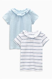Blue Frill Neck T-Shirts Two Pack (3mths-6yrs)