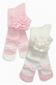 Ruffle Tights Two Pack (0mths-2yrs)