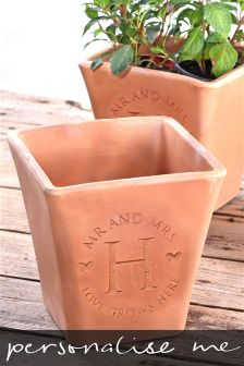 Mr And Mrs Initial Terracotta Plant Pot By Letterfest