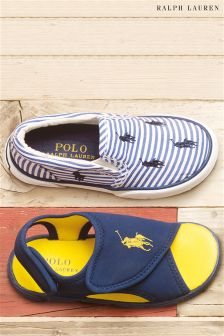 Polo Ralph Lauren Blue Stripe Bal Harbour Slip On Trainer