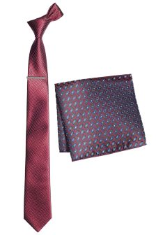 Tie With Pocket Square And Tie Clip