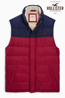Holister Burgundy/Navy Padded Gilet