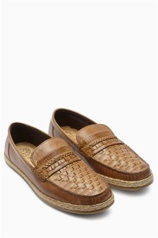 Tan Leather Weave Jute Loafer