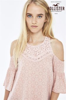 Hollister Pink Cold Shoulder Peasant Top