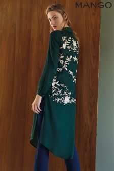 Mango Green Embroidered Shirt Dress