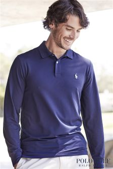 Ralph Lauren Polo Golf Navy Interlock Long Sleeve Polo