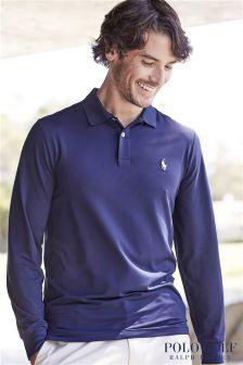 Ralph Lauren Polo Golf Navy Interlock Long Sleeve Polo