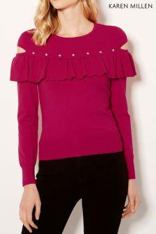 Karen Millen Pink Ruffle Sleeve Knit