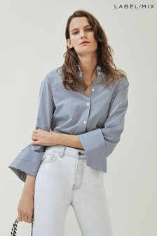Mix/Kitri Studio Blue Stripe Cotton Shirt