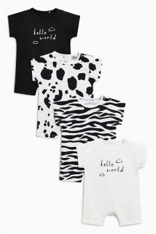 Animal Print Rompers Four Pack (0mths-2yrs)
